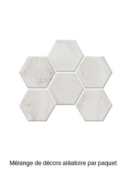 Carrelage BETON DECOR, aspect béton blanc, dim 18,2 x 21 cm