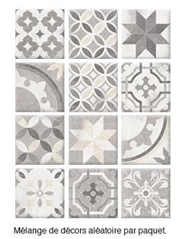 Carrelage EPOQUE, aspect carreau ciment décor, dim 20 x 20 cm
