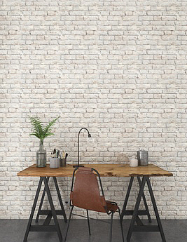 Papier peint KAYS vinyle sur intissé motif briques écaillées, gris