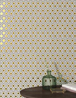 Papier peint HICKS HEXAGON 100% Intissé motif géométrique, noir et doré
