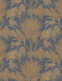 Papier peint TABATA, 100% Intissé effet feuilles, noir et doré