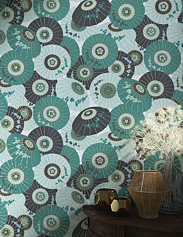 Papier peint TANGUY, 100% Intissé motif ombrelles, vert