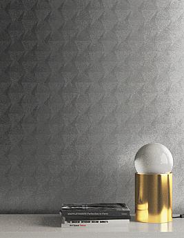 Papier peint TASNIME, Vinyle sur intissé motif géométrique, gris