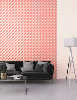 Papier peint TELMA, Vinyle sur intissé motif géométrique, rose