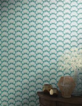 Papier peint TEOTIM, 100% Intissé motif végétal, vert
