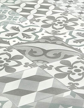 Revêtement minéral composite CERAMIN TILES SJ, carreau de ciment kaki, dalle 31,5 x 62,5 cm