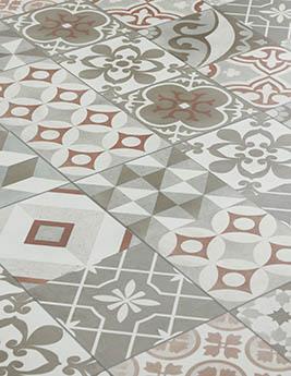 Revêtement minéral composite CERAMIN TILES SJ, carreau de ciment terracotta, dalle31,5 x 62,5 cm