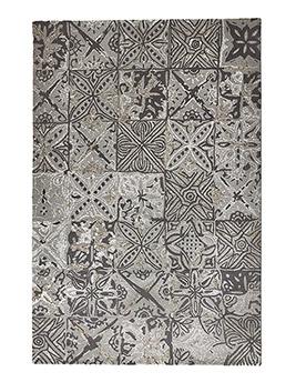 Tapis Toulemonde Bochart TILES, motif carreaux de ciment gris et noir