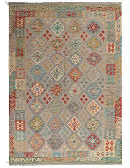 Tapis tissé main KILIM MAZAR, motif géométrique