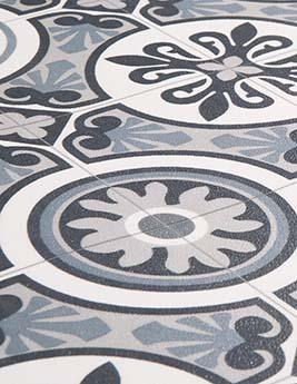 Sol vinyle EMOTION, carreau de ciment bleu gris, rouleau 2 m