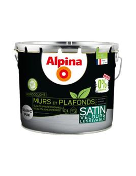 Peinture ALPINA Premium Mur & Plafond 0% Conservateur Velours, blanc