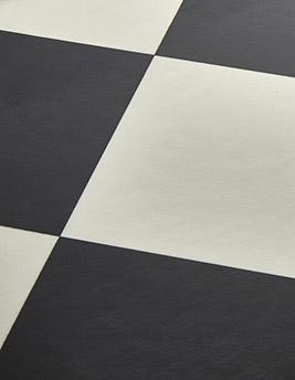 Sol vinyle BUBBLEGUM, carrelage damier noir et blanc, rouleau 2 m