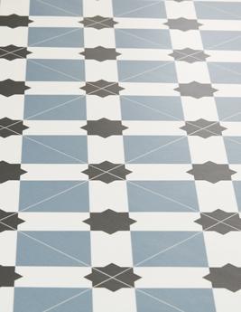 Sol vinyle BUBBLEGUM, aspect carreau de ciment bleu, rouleau 2 m