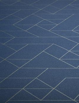 Sol vinyle BUBBLEGUM, motif bleu filet or, rouleau 2 m