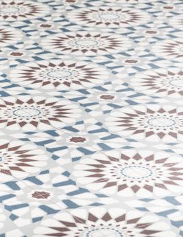 Sol vinyle BUBBLEGUM, effet carreau de ciment terracotta et bleu, rouleau 2 m