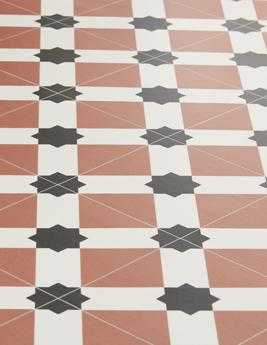Sol vinyle BUBBLEGUM, aspect carreau de ciment terracotta, rouleau 4 m