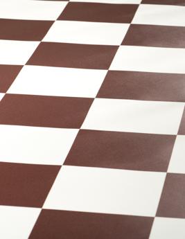 Sol vinyle BUBBLEGUM, damier terracotta et blanc cassé, rouleau 4 m