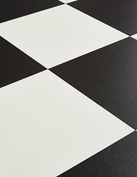 Sol vinyle BUBBLEGUM, motif carrelage damier noir et blanc, rouleau 4 m