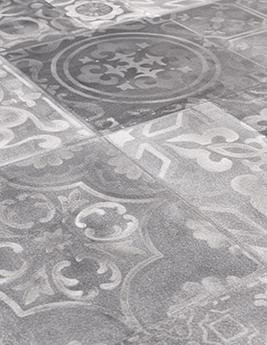 Sol vinyle TEXLINE, aspect carreau de ciment gris foncé, rouleau 2 m