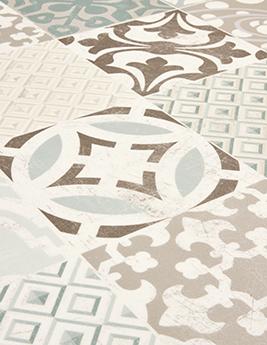 Sol vinyle TEXLINE, aspect carreau ciment vert, rouleau 2 m