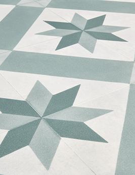 Sol vinyle TEXLINE, aspect carreau de ciment vert, rouleau 2 m