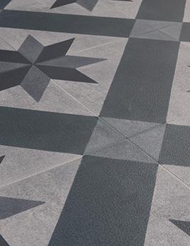 Sol vinyle TEXLINE, aspect carreau de ciment bleu marine, rouleau 3 m