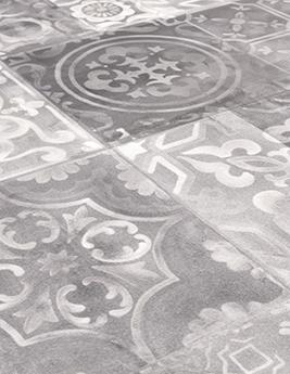 Sol vinyle TEXLINE, aspect carreau de ciment gris, rouleau 4 m