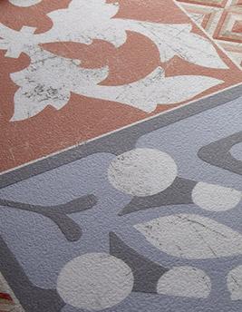 Sol vinyle TEXLINE, carreau ciment rouge, rouleau 4 m