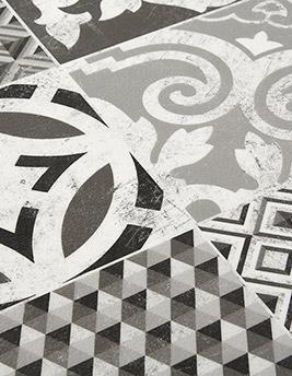 Sol vinyle BOOSTER, décor carreaux ciment blanc et noir, rouleau 4 m
