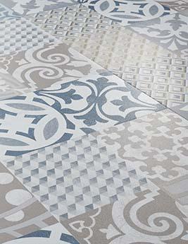 Sol vinyle SENSO ADHESIVE DALLE, aspect carreau de ciment bleu, dalle 30,5 x 60,9 cm