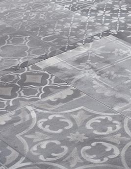 Sol vinyle VIRTUO 55 A COLLER DALLE, aspect carreau de ciment gris, dalle 45,7 x 91,4 cm