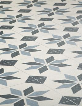 Sol vinyle STUDIO, carreau de ciment étoile bleu, rouleau 4 m