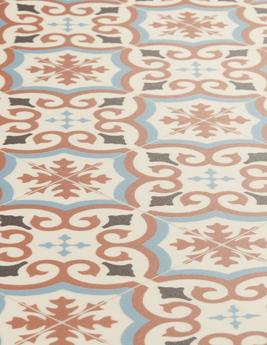 Sol vinyle TEXMARK, aspect carreau de ciment bleu et terracotta, rouleau 4 m